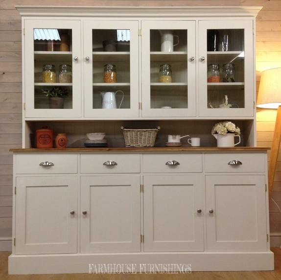 6ft Solid Pine Glazed Welsh Dresser Hand Painted In Off