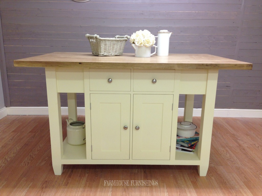 Solid Pine and Oak Kitchen Island - Farmhouse Furnishings