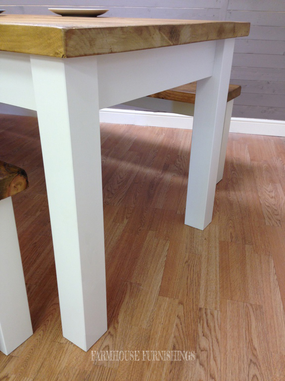 Solid Pine 8ft Dining Table And Benches Farmhouse