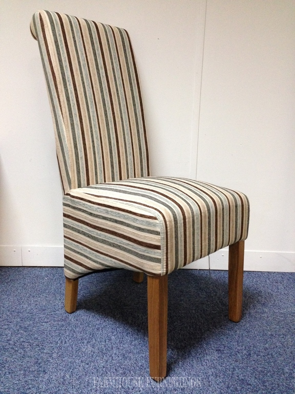 Stripe Fabric Dining Chair Farmhouse Furnishings