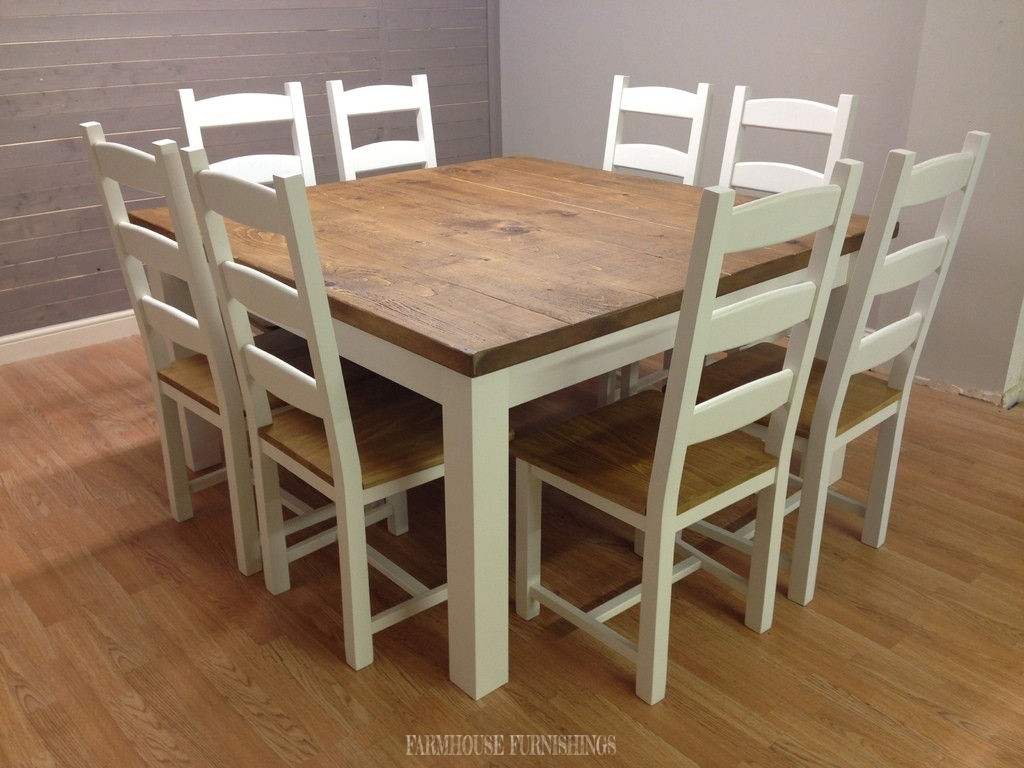 5ft X Plank Top Dining Table With Eight Painted Chairs Farmhouse Furnishings